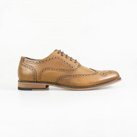 Men Tan Brown Lace-up Leather Oxford Brogue XL Big Size Shoes side view