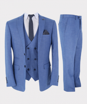 Mens 3 Piece Suit Classic Special Occasion Tailored Fit Sky Blue