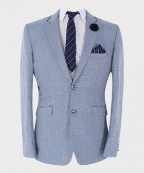 View of the blazer jacket, shirt and tie with hanky from the Mens Blazer Trousers Slim Fit Check in Light Blue Sold Separately