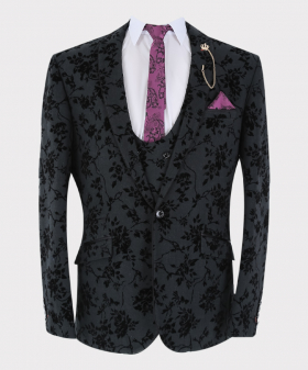 View of the blazer jacket with shirt, tie and hanky from Mens Blazer Waistcoat Trouser Formal Velvet Floral Embroidered Sold Separately in Black