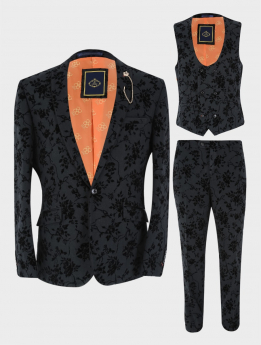 View of the blazer jacket, waistcoat and trouser from the Mens Blazer Waistcoat Trouser Formal Velvet Floral Embroidered Sold Separately in Black