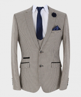 View of the blazer jacke, waistcoat, shirt, tie and hanky from Mens Blazer Waistcoat Trousers Skinny Fit Tan Houndstooth Check Sold Separately