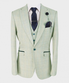 Mens Blazer Waistcoat with accessories Slim Fit Beige Houndstooth Check Tweed  Set Sold Separately Front Picture