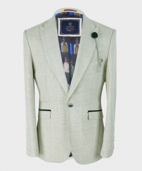 Mens Blazer Slim Fit Beige Houndstooth Check Tweed  Set Sold Separately Front Picture