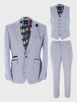Mens Blazer Waistcoat Trousers Slim Fit Blue Houndstooth Check Tweed  Set Sold Separately Front Picture