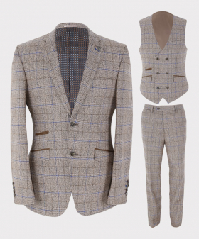 Mens Blazer Waistcoat & Trousers Tailored Fit Tweed Check in Beige Sold Separately