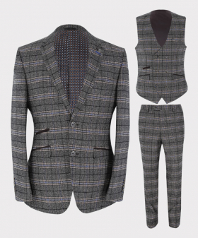 Mens Blazer Waistcoat & Trousers Tailored Fit  Tweed Check in Grey Sold Separately