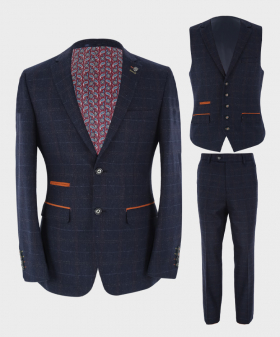Mens Blazer Waistcoat & Trousers Tailored Fit  Tweed Check in Navy Blue Sold Separately