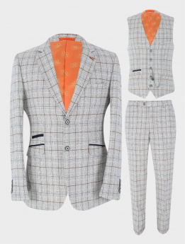 View of the Blazer Jacket, Waistcoat and Trousers from the Mens Blazer Waistcoat Trousers Tweed Windowpane Check Slim Fit in Ice Blue Sold Separately