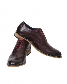 Men's Wine Lace up Leather Oxford Shoes
