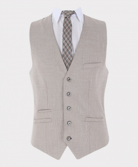 View of the waistcoat with shirt and tie from Mens Single-Breasted Waistcoat and Trousers Linen Suit Set Formal Slim Fit in Beige Sold Seperately