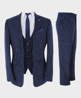 Mens Suit 3 Piece Pinstripe Tailored Fit Set in Navy Blue