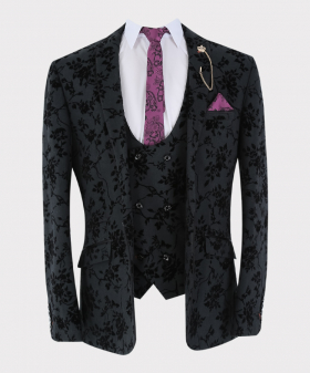 Mens Suit Velvet Floral Embroidered Formal blazer and double-breasted waistcoat with accessories open front picture
