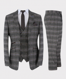 Mens Suit Tailored Fit Grey Tweed Check 3 Piece Set