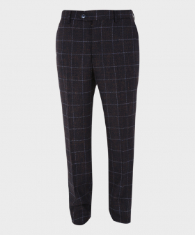 Mens Trousers Skinny Fit Tweed Herringbone Check in Navy Blue Front Picture