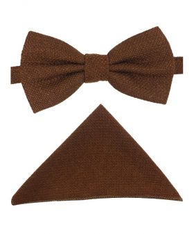 View of the bow tıe and hanky from the Mens & Boys Cinnamon Brown Tweed Dickie Bow Tie and Pocket Square