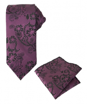 Boy's & Men's Paisley Swirls Formal Tie and Hanky in Purple and Violet
