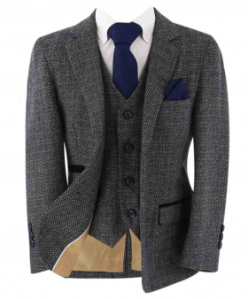 Open front view of the blazer jacket from the Paul Andrew Father and Son Tailored Fit Suit in Grey & Navy Blue