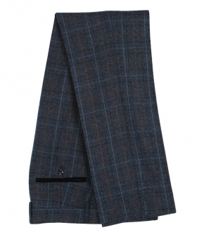 Paul Andrew Men Check Tweed Retro Trousers in Navy Blue Side front Picture