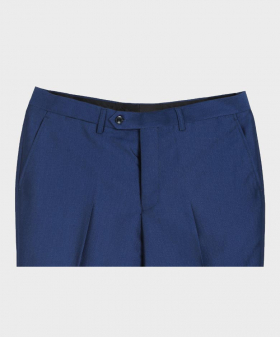 Paul Andrew Men Sheen Effect Trousers in Royal Blue for Wedding Front Details