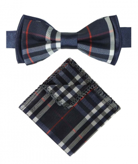View of the bow tie and hanky  from the Boys Bow Tie Burberry Check Style Navy Blue Strap