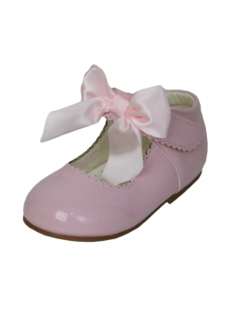 Girls Pink Hook And Loop Shoes With A Satin Bow