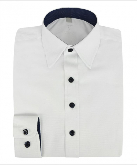 Boys Tailored Fit Cotton Shirt in White front picture