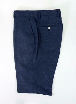 View of the Men's Miami Denim Navy Stretch Slim Fit Smart Trousers