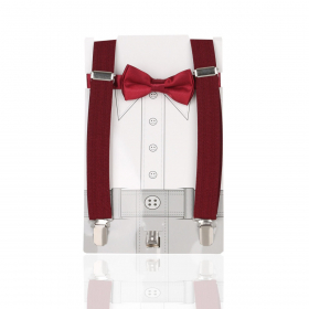 Young Children's adjustable elastic Y-Back Plain Braces with Bow Tie Set in Red