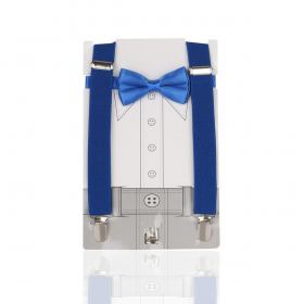 Young Children's adjustable elastic Y-Back Plain Brace with Bow Tie Set in Blue