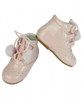 Front and side view of the Baby Girls Shoes Patent Spanish Pom Pom Boots in Pink