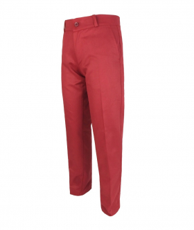 Left side view of the Boys Slim Fit Straight Leg Red Burgundy Chino Trousers