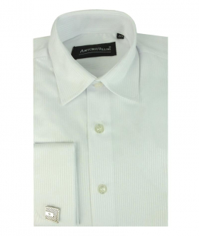 View of the Boys White Self Striped Shirt with Cufflinks