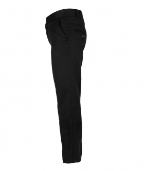 View from the left side of the Designer Slim Fit Boys Black Chino Trousers