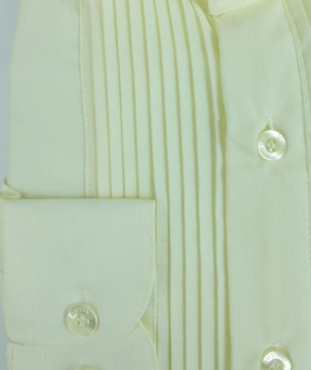 View of the buttons from the Wing Collar Shirt Pleated in Cream Ivory