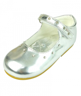 Mary Jane Girls Patent Shoes With Diamante Strap in Silver right side