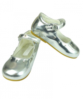Front and side view of the Mary Jane Girls Patent Shoes With Diamante Strap in Silver