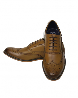 Men's Tan Lace up Leather Oxford Shoes