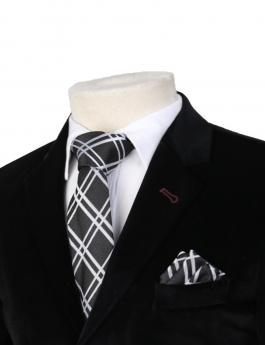 Boys Plaid Neckties Kids Formal Checkered Ties In Black And White