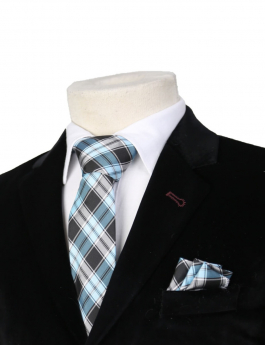Boys Plaid Neckties Kids Formal Checkered Ties In Blue And Black