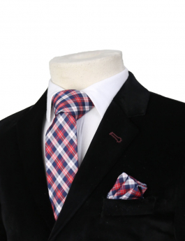 Boys Plaid Neckties Kids Formal Checkered Ties In Red And Navy