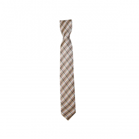 Boys Plaid Neckties Kids Formal Checkered Ties In Brown And White
