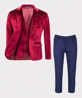 Three-piece Boys Tailored Fit Velvet suit in Claret Red  Open Picture