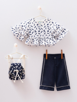 Toddler Baby Girl 4 Piece Set Summer Outfit in White & Navy Blue  Front picture