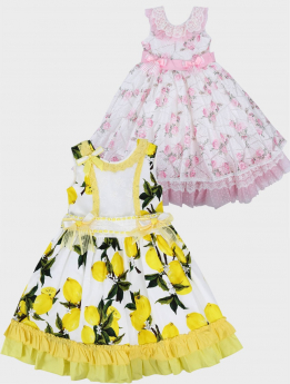 Toddler Baby Girls Floral Sleeveless Lace Ruffles Summer Dress  in white & pink or white & yellow multi front picture