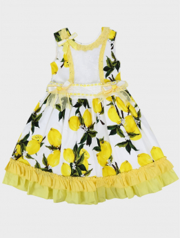 Toddler Baby Girls Floral Sleeveless Lace Ruffles Summer Dress in white and yellow withruffles details  front picture