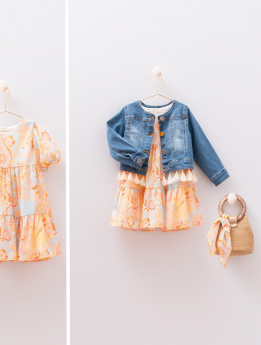 Toddler Baby Girls Paisley Print  4 Piece Summer Dress  Denim Jacket Set  with accessories front and detail pictures