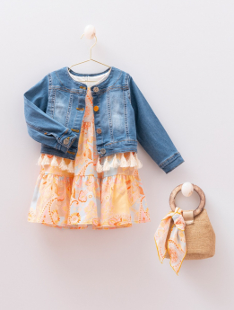 Toddler Baby Girls Paisley Print  4 Piece Summer Dress  Denim Jacket Set  with accessories front picture
