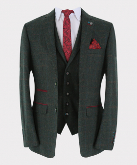 Tweed Check blazer Jacket and waistcoat  Front Picture