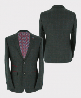 Tweed check blazer jacket Front and Back pictures